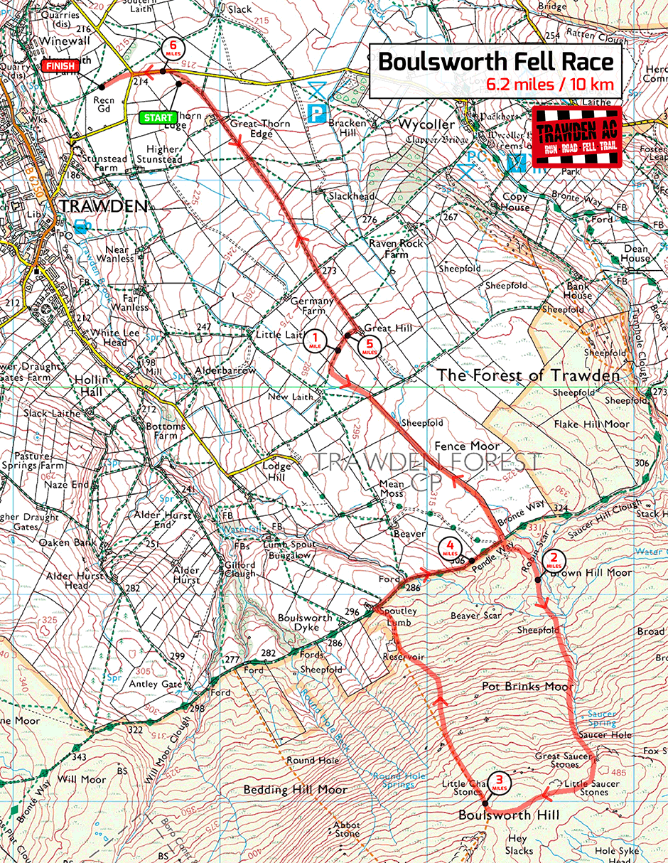 Boulsworth Fell Race Map