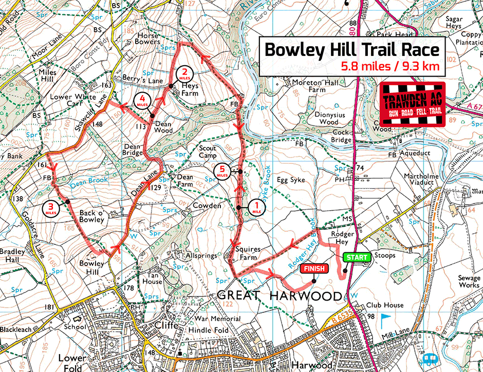 Bowley Hill Trail Race Map
