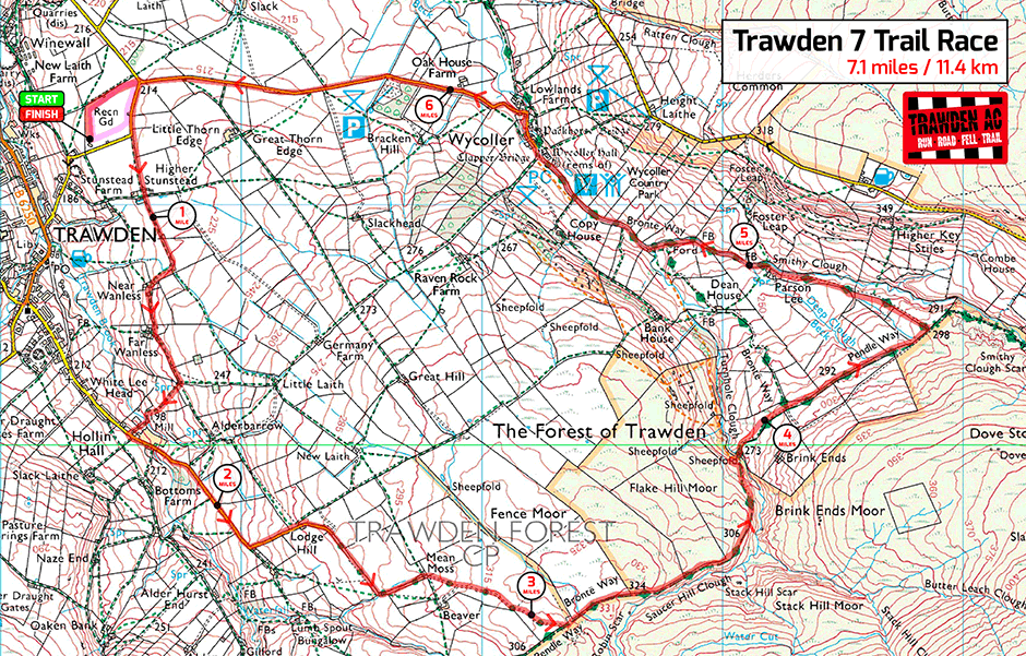 Trawden 7 Trail Race Map